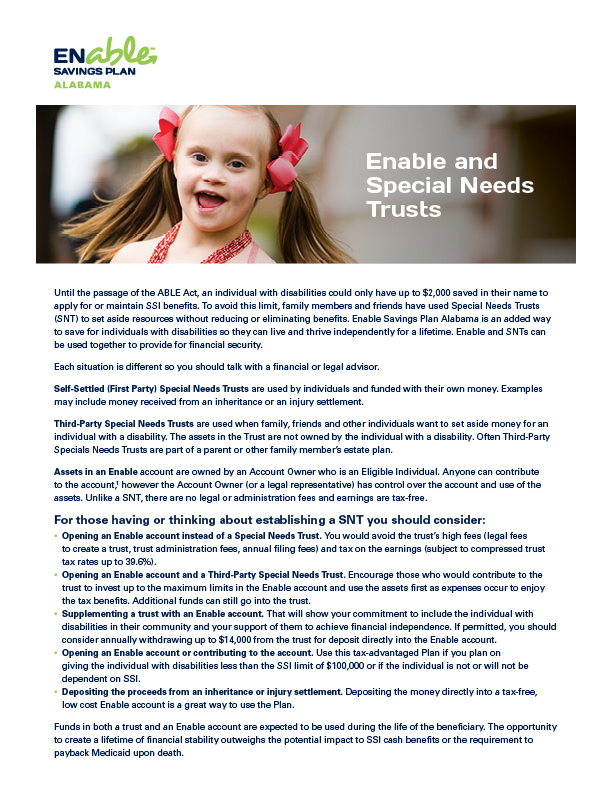 Enable and Special Needs Trusts