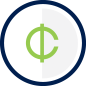 Cents icon inside a circle