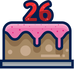 Icon of birthday cake.