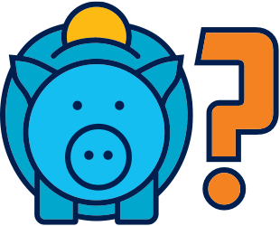 Icon of piggy bank with question mark.