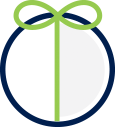 Gift Icon - bow wrapped circle