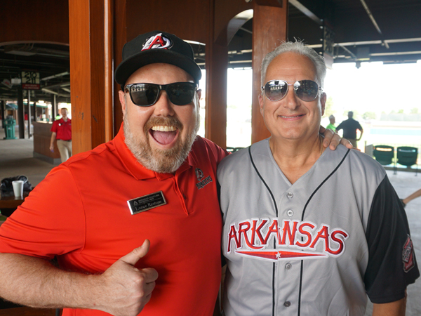 Treasurer Milligan with Lance Restum of the Arkansas Travelers baseball team. Arkansas 529 has partnered with the Arkansas Travelers for several years.