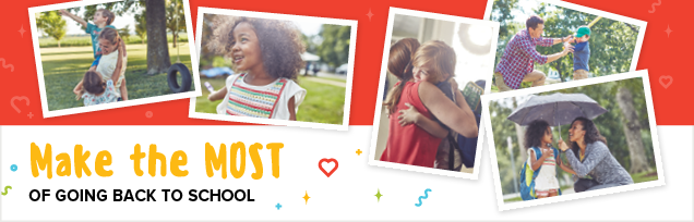 Mostsweeps banner child with toy and parent with daughter - Make the MOST of going back to school