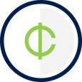 contribute icon - cents symbol within a circle