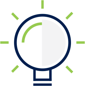 Light bulb icon with green accents.
