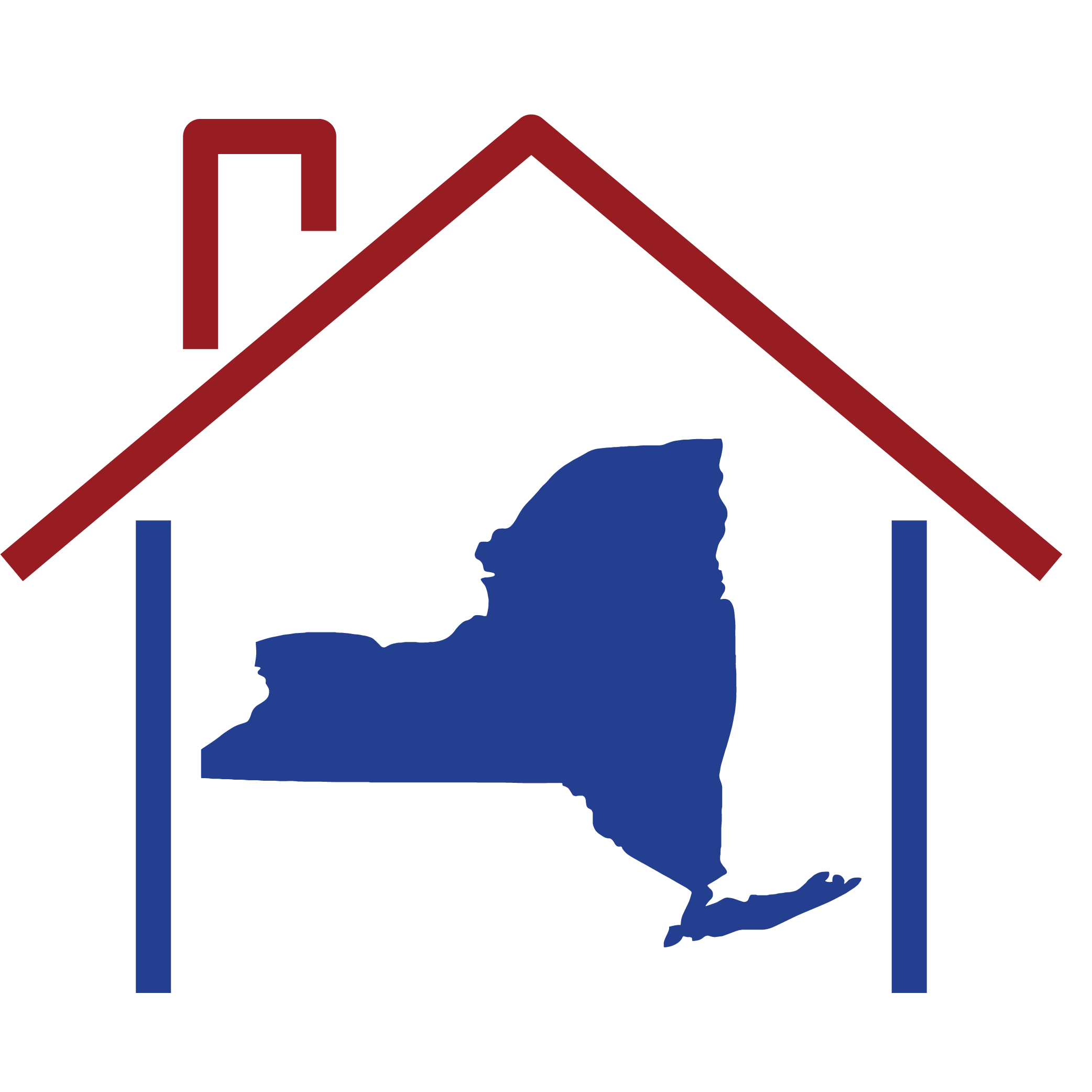 New York state shape inside a house structure.
