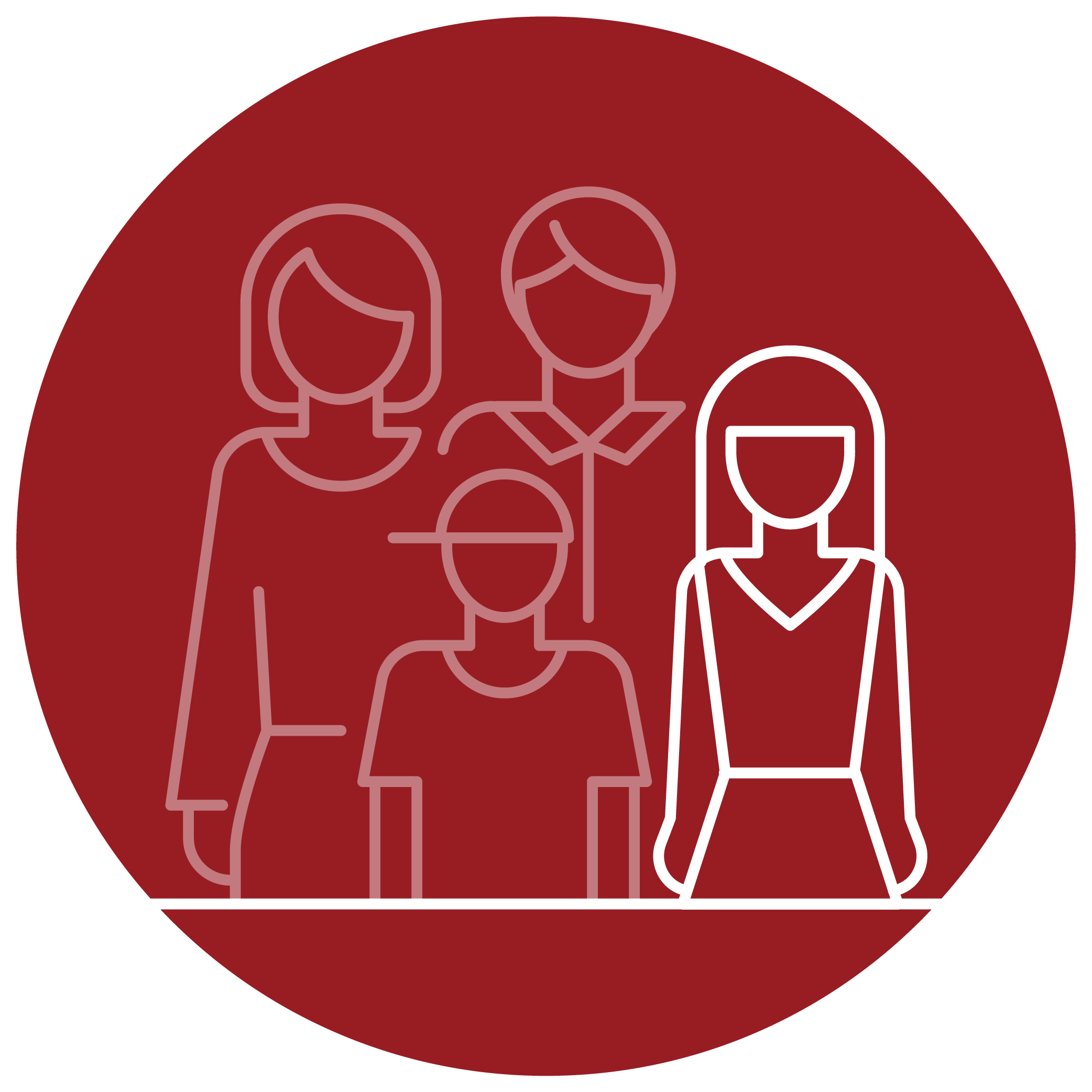 An illustrated, outlined family in a red circle. The daughter is highlighted to signify an eligible individual.