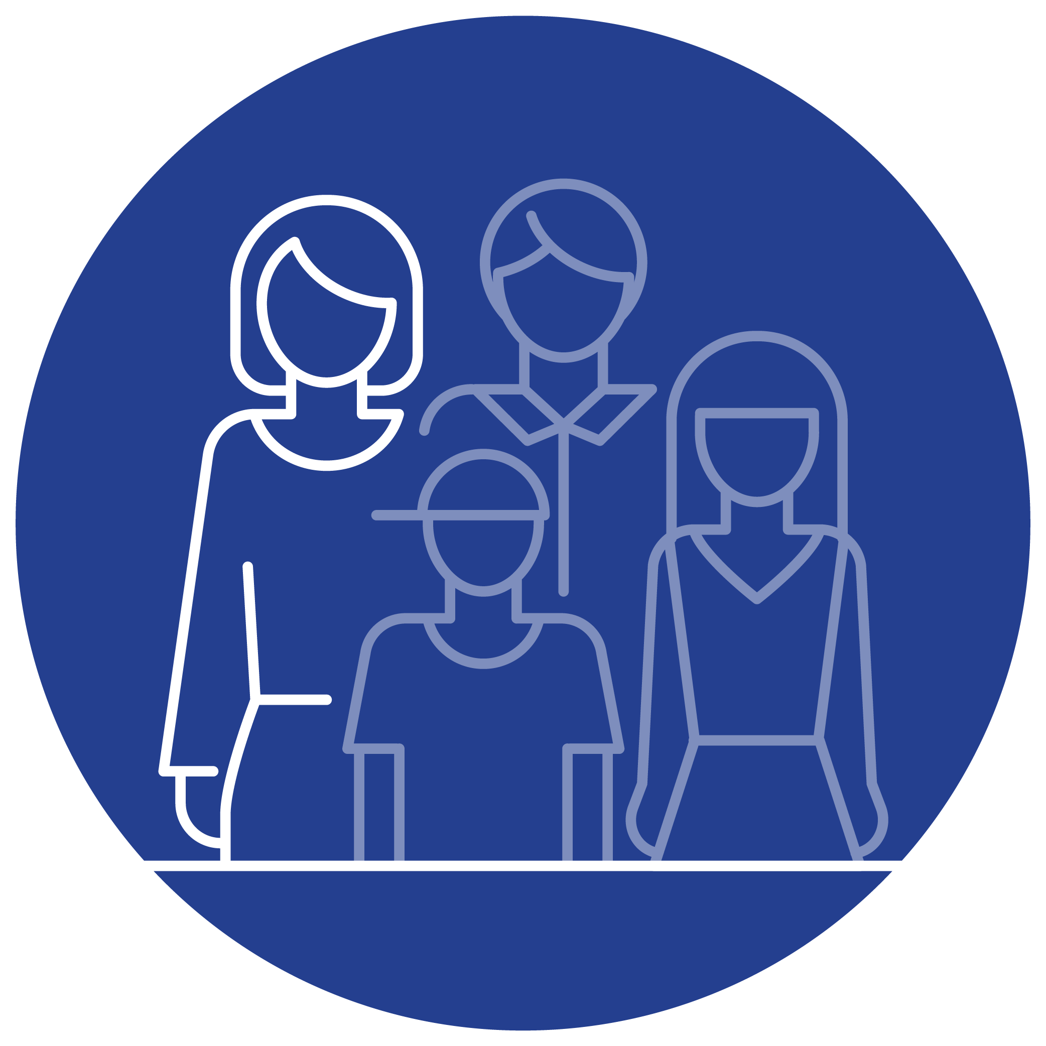 An illustrated, outlined family in a blue circle. The mother is highlighted to signify an eligible individual's parent or guardian.