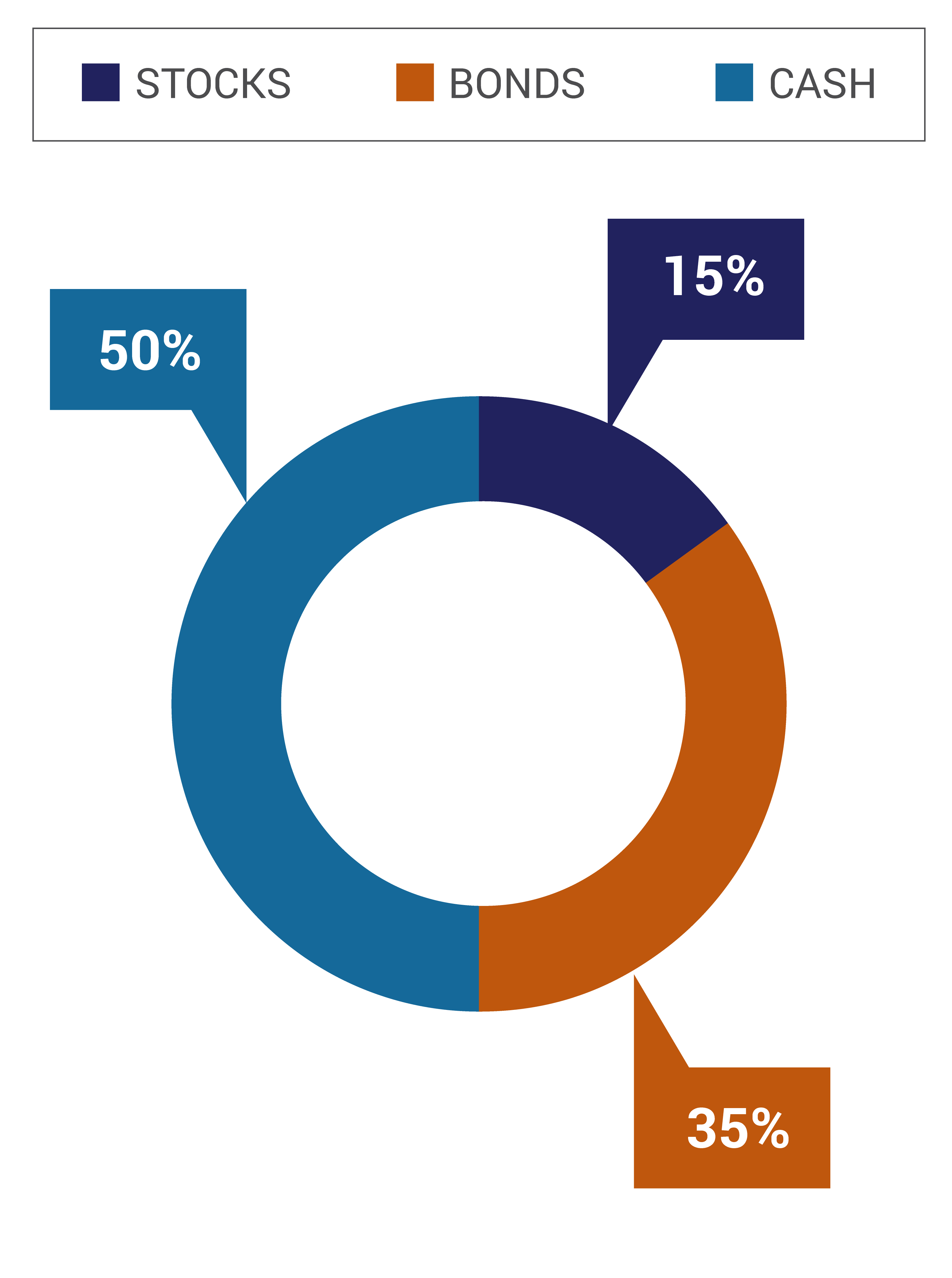 The Conservative Portfolio Option consists of 15% Stocks, 35% Bonds, and 50% Cash.