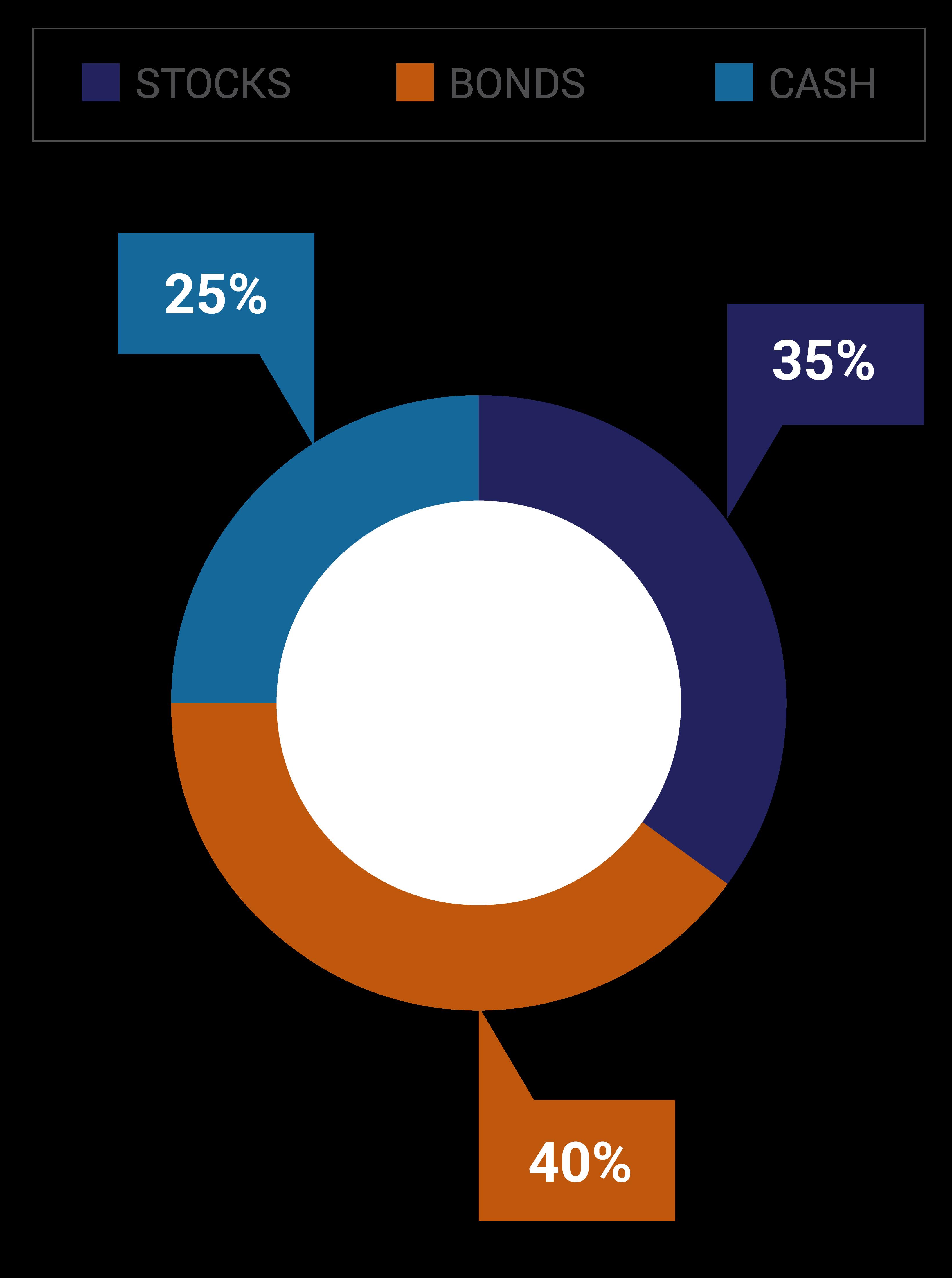 The Intermediate Portfolio Option consists of 35% Stocks, 40% Bonds, and 25% Cash.