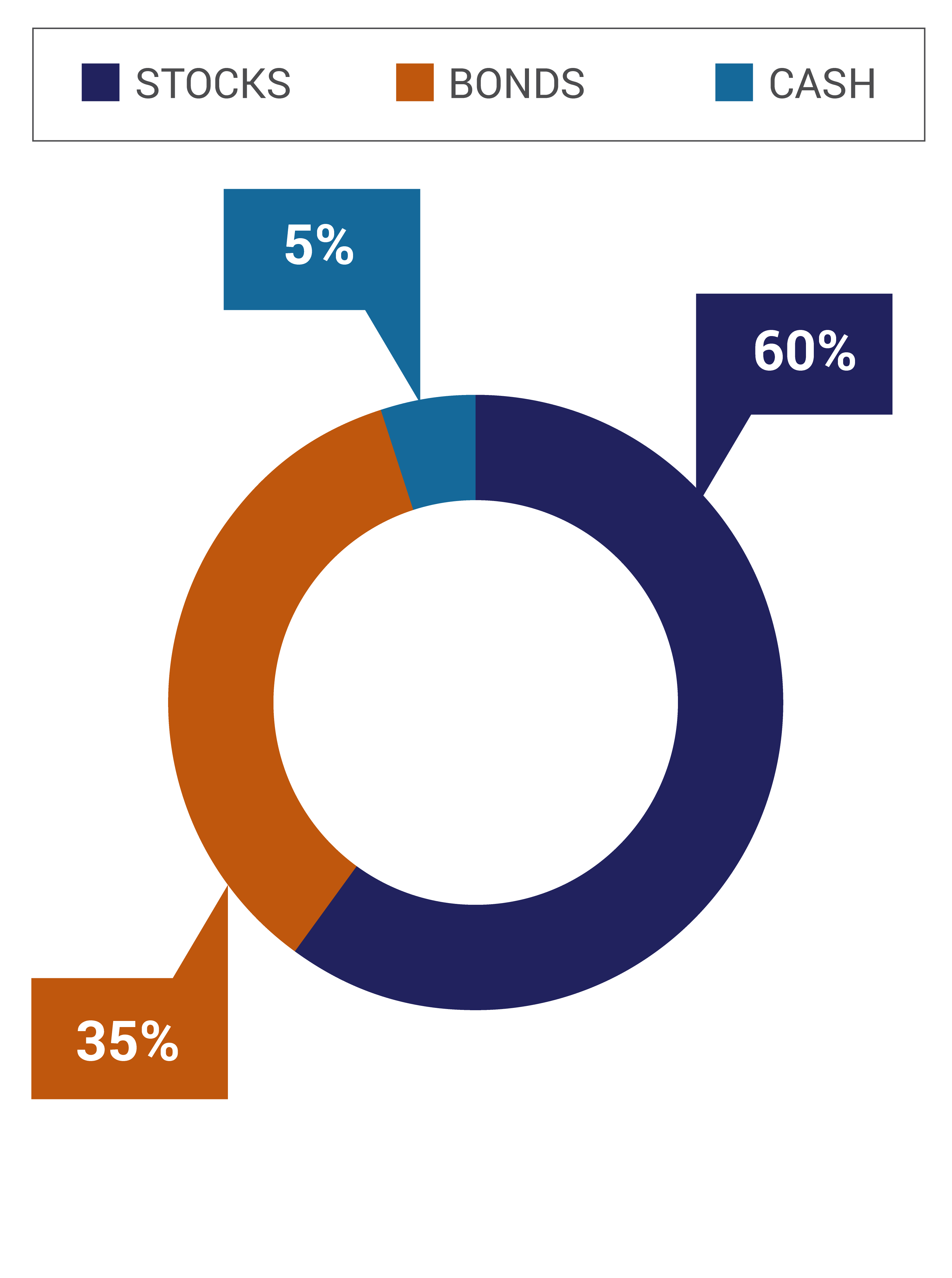 The Moderate Portfolio Option consists of 60% Stocks, 35% Bonds, and 5% Cash.