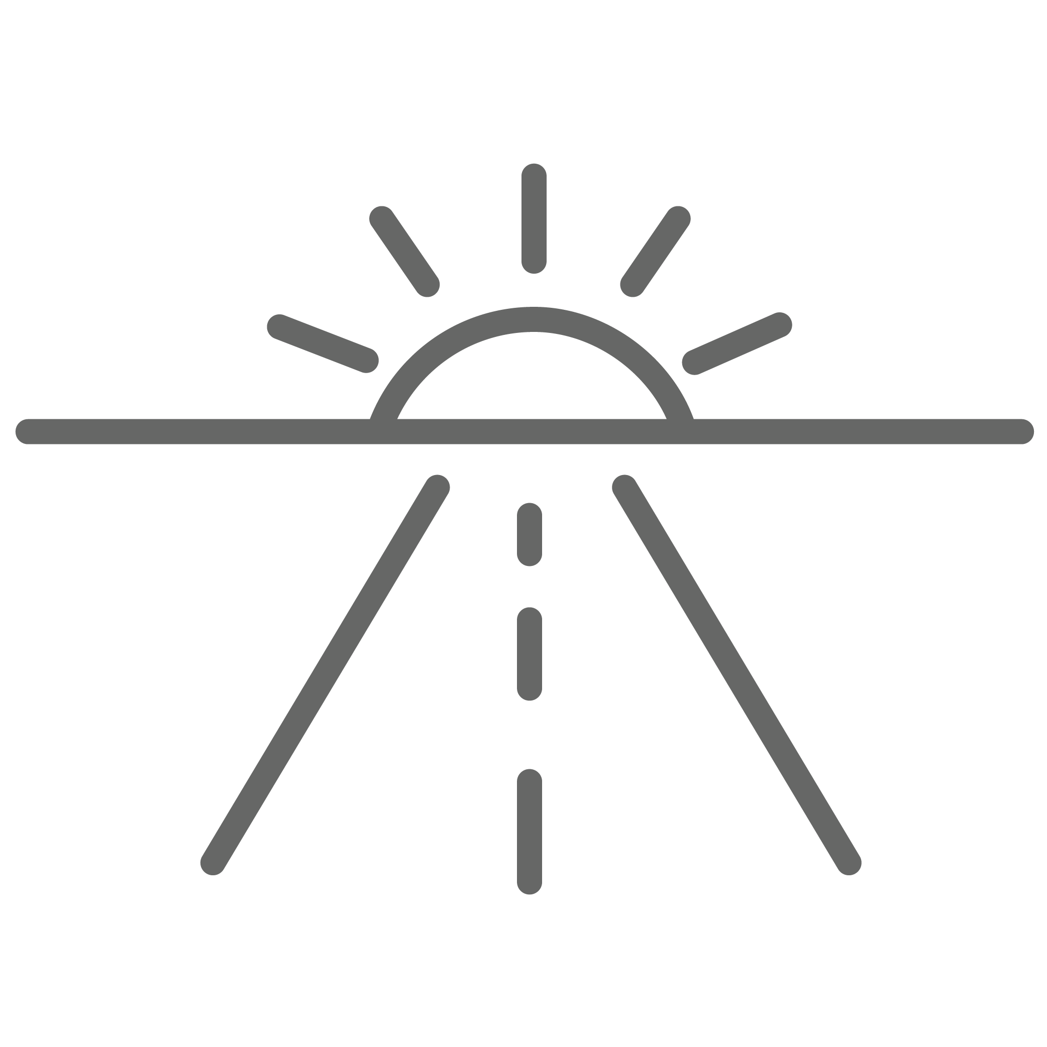 Outline of a road pointing towards sunset on the horizon.