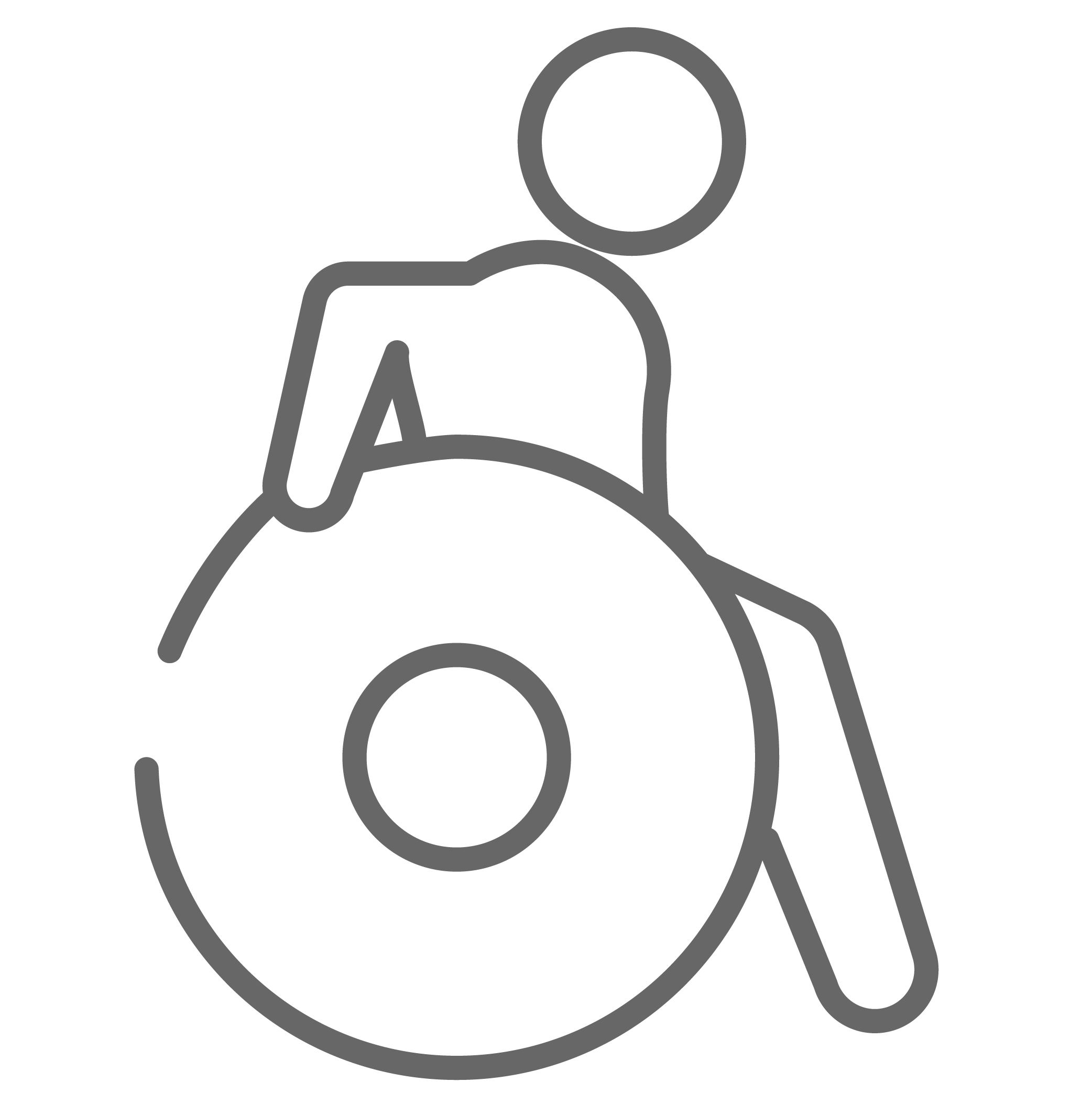 Outline of a person in a wheelchair