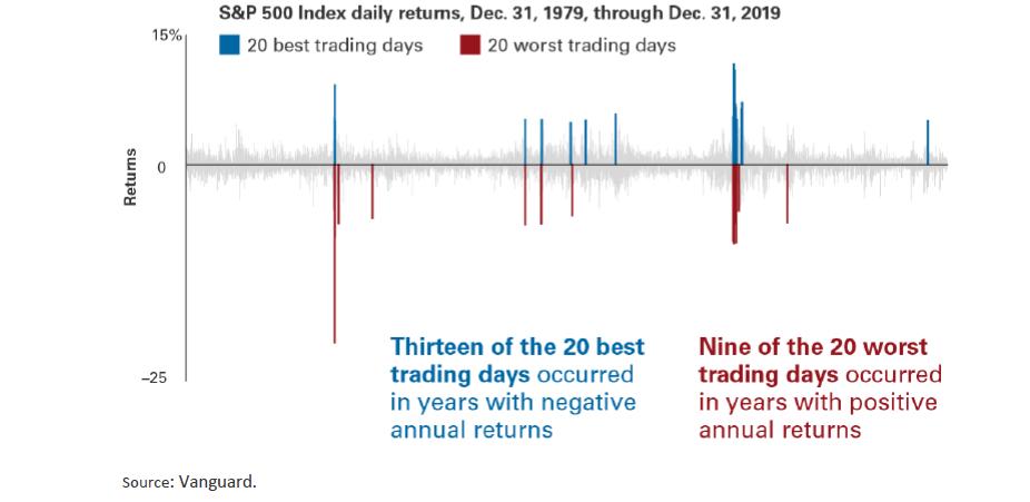 Vanguard Graph showing S&P 500 Index daily returns, 1979 through 2019