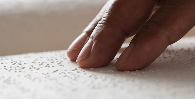 Person using braille